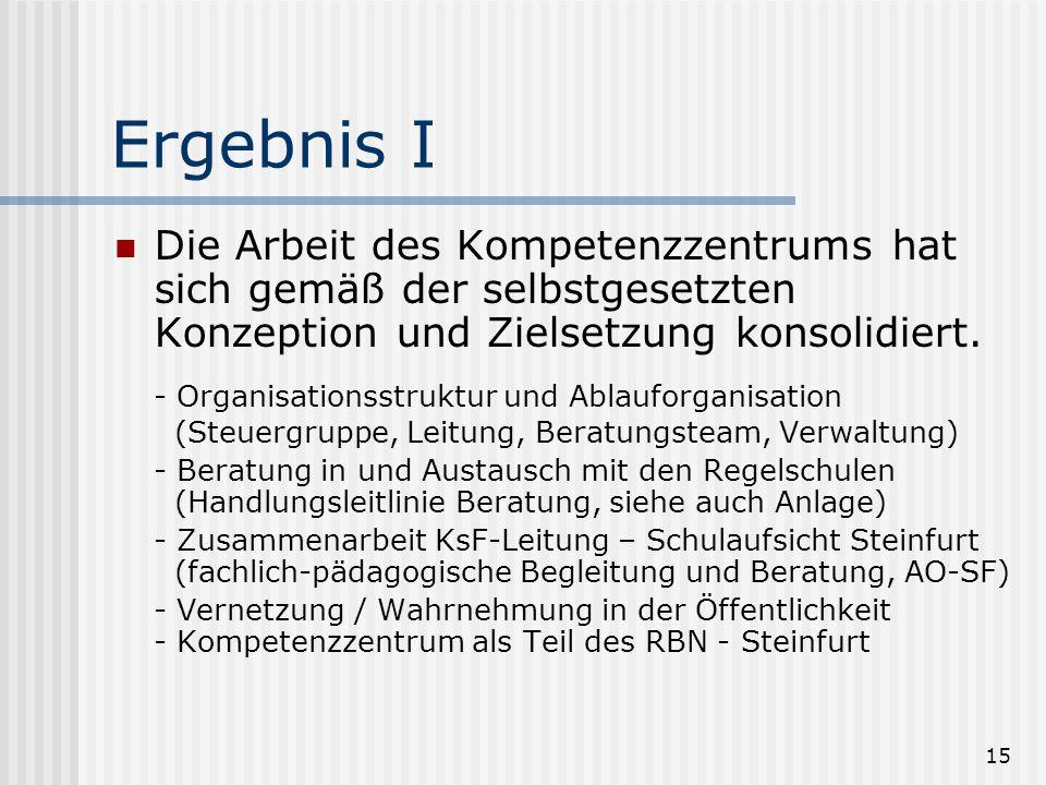 Ergebnis I Die Arbeit des Kompetenzzentrums hat sich gemäß der selbstgesetzten Konzeption und Zielsetzung konsolidiert.