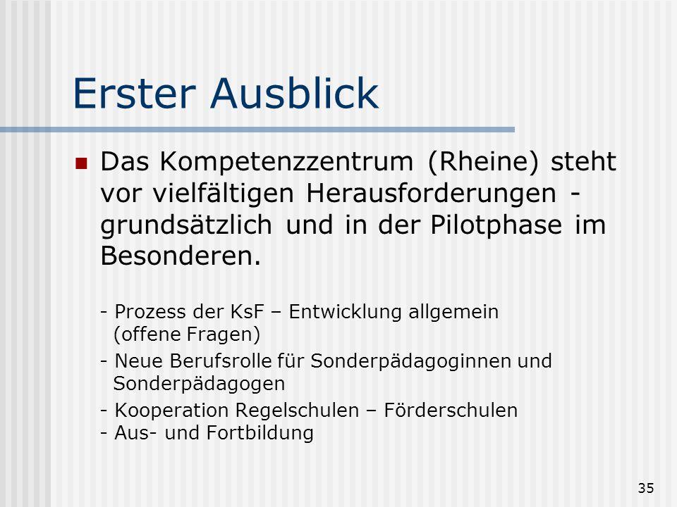 Erster Ausblick Das Kompetenzzentrum (Rheine) steht vor vielfältigen Herausforderungen - grundsätzlich und in der Pilotphase im Besonderen.