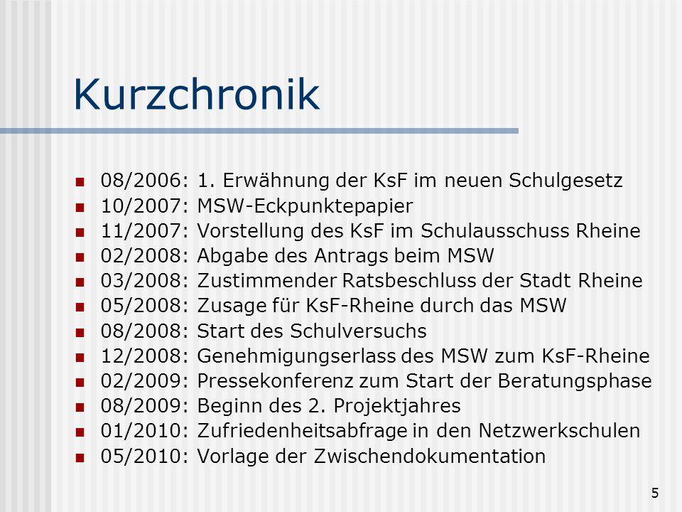 Kurzchronik 08/2006: 1. Erwähnung der KsF im neuen Schulgesetz