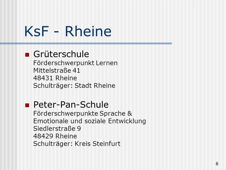 KsF - Rheine Grüterschule Förderschwerpunkt Lernen Mittelstraße 41 48431 Rheine Schulträger: Stadt Rheine.