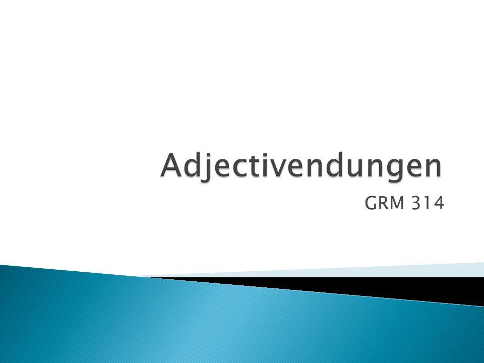 Adjectivendungen GRM 314