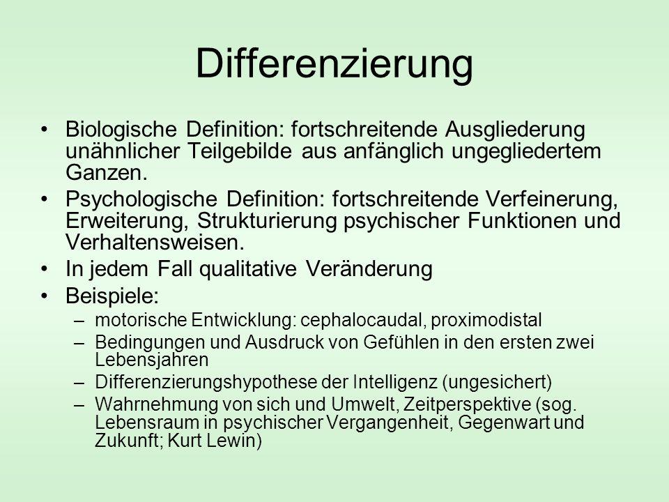 Differenzierung Biologische Definition: fortschreitende Ausgliederung unähnlicher Teilgebilde aus anfänglich ungegliedertem Ganzen.