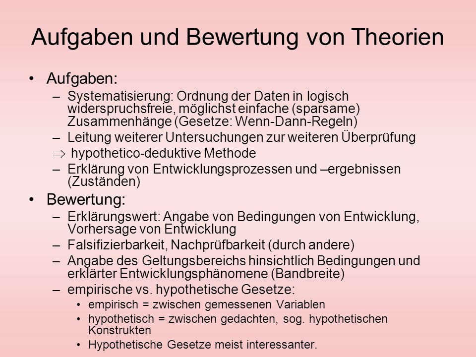 Aufgaben und Bewertung von Theorien