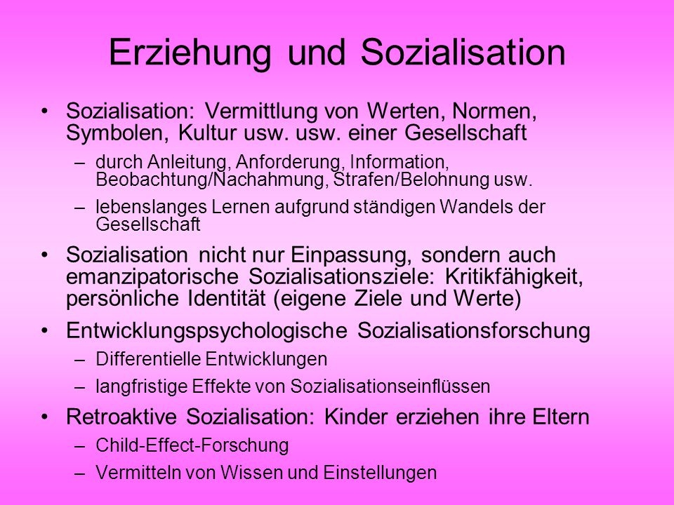 Erziehung und Sozialisation