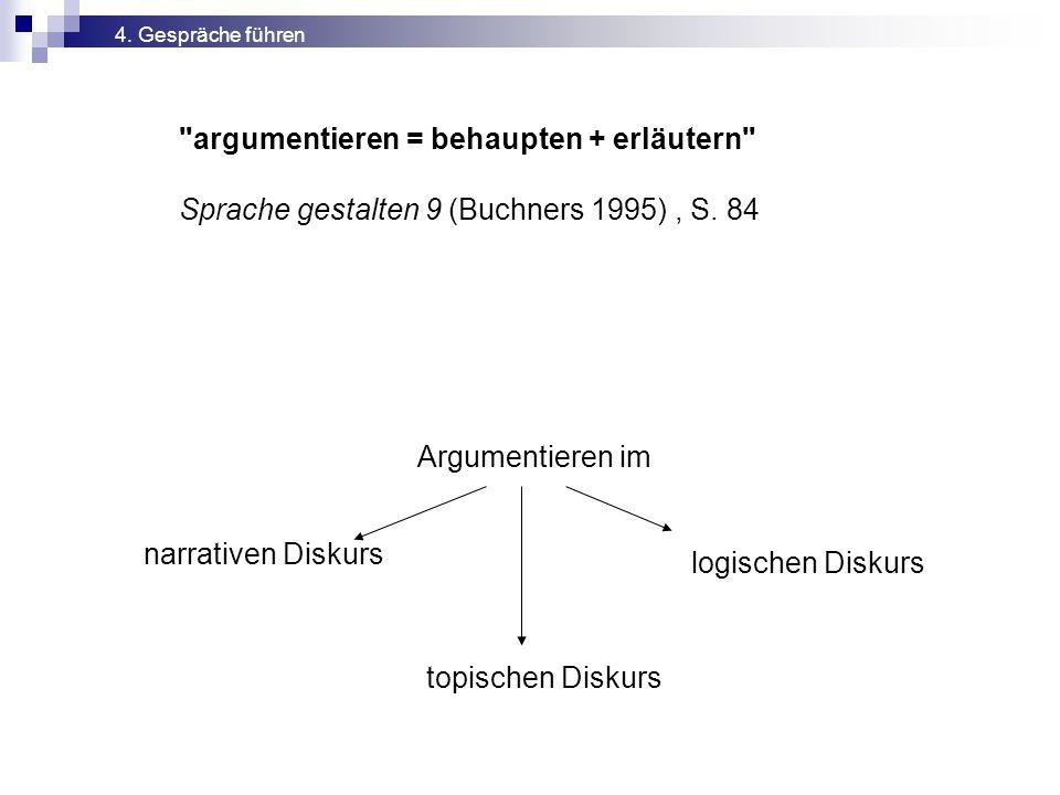 argumentieren = behaupten + erläutern