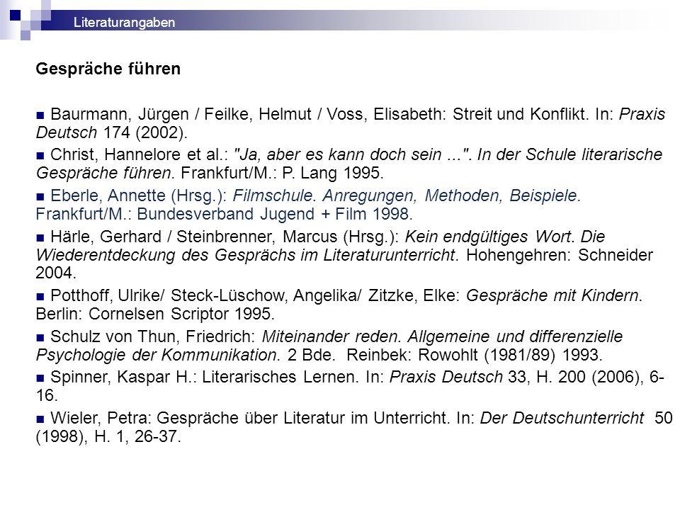 Literaturangaben Gespräche führen. Baurmann, Jürgen / Feilke, Helmut / Voss, Elisabeth: Streit und Konflikt. In: Praxis Deutsch 174 (2002).