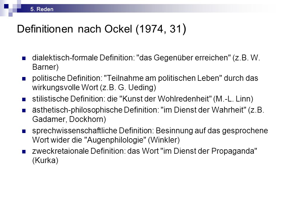 Definitionen nach Ockel (1974, 31)