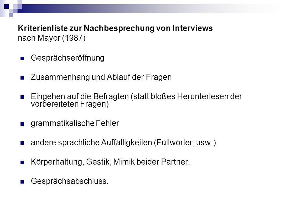 Kriterienliste zur Nachbesprechung von Interviews nach Mayor (1987)