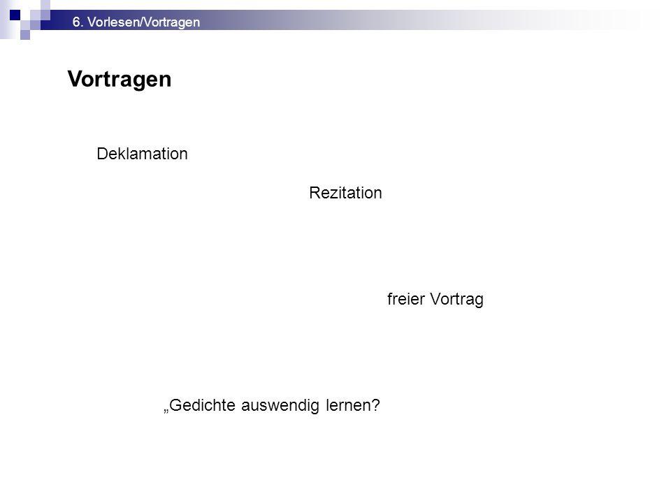 Vortragen Deklamation Rezitation freier Vortrag