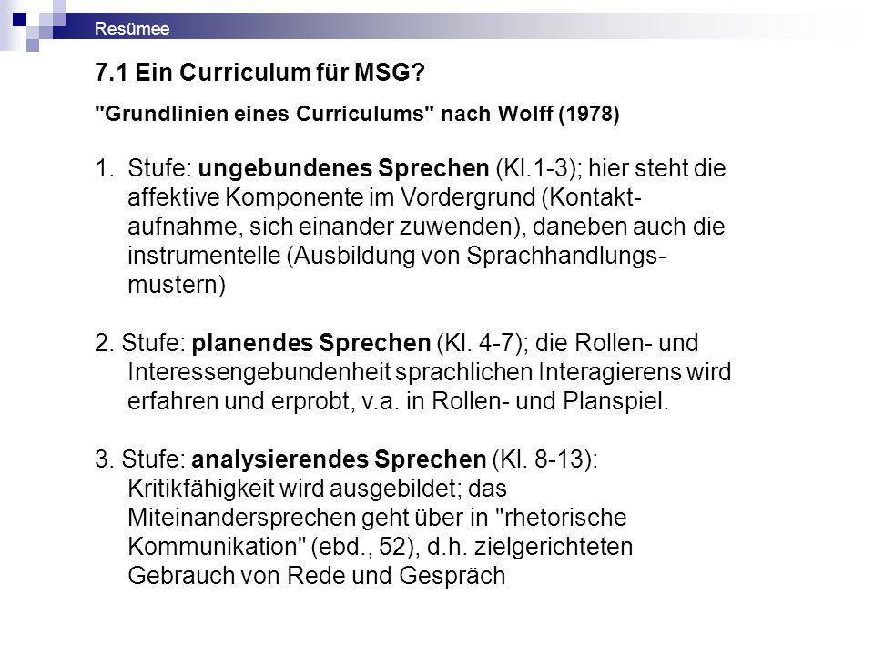 Resümee 7.1 Ein Curriculum für MSG Grundlinien eines Curriculums nach Wolff (1978)