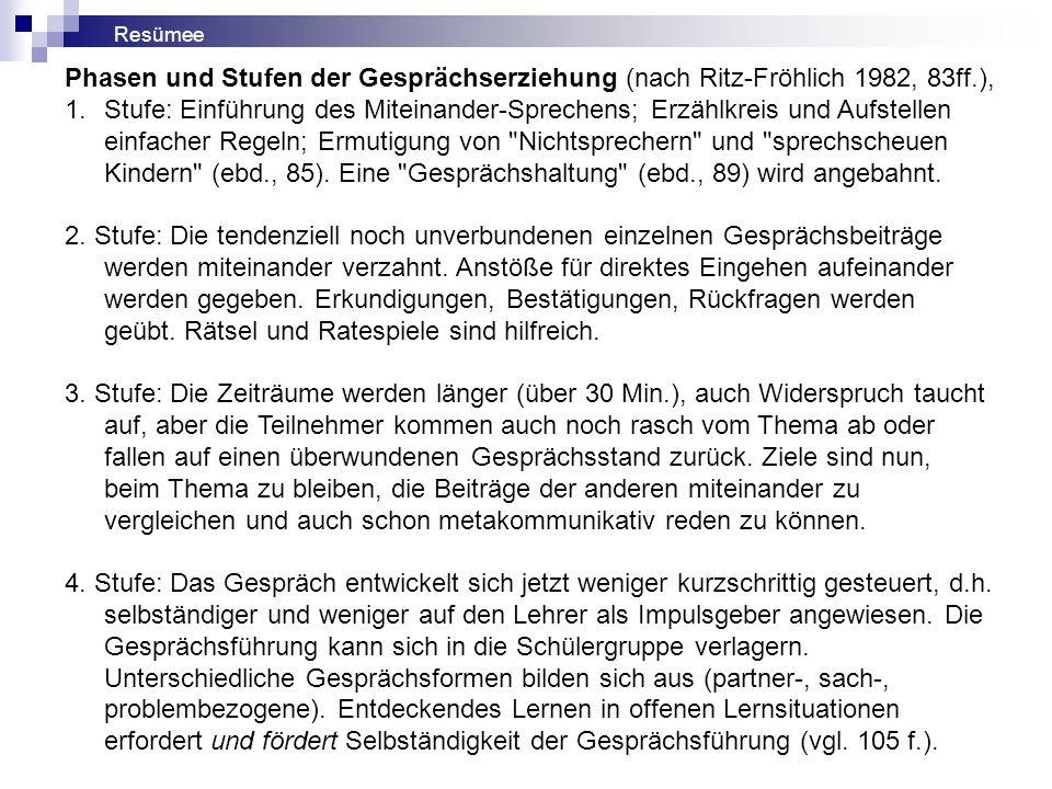 Resümee Phasen und Stufen der Gesprächserziehung (nach Ritz-Fröhlich 1982, 83ff.),