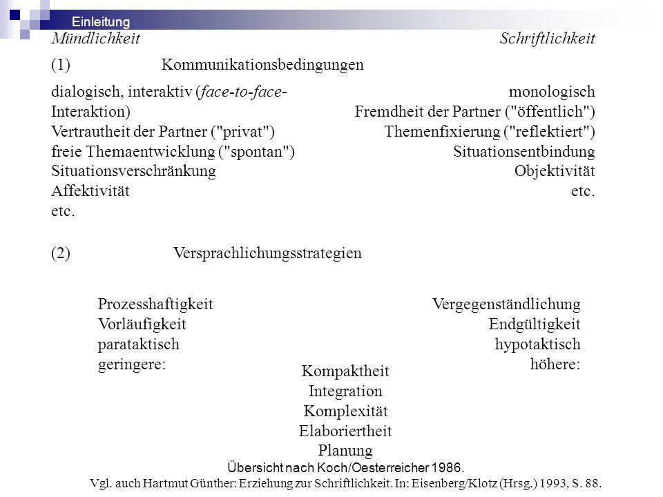 Übersicht nach Koch/Oesterreicher 1986.