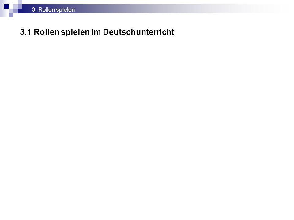3.1 Rollen spielen im Deutschunterricht