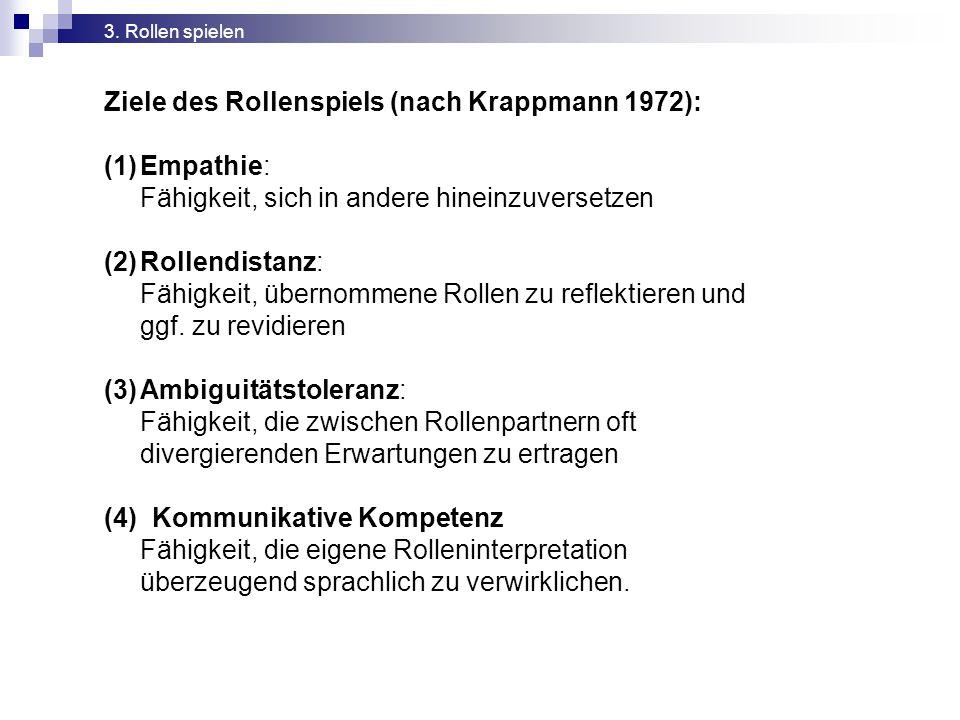 Ziele des Rollenspiels (nach Krappmann 1972):