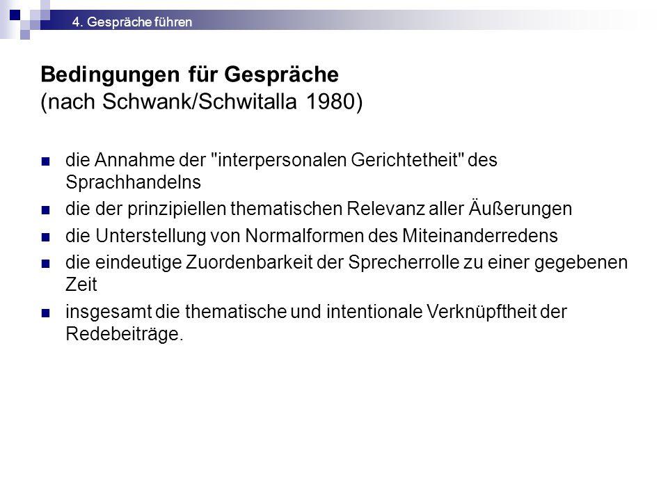 Bedingungen für Gespräche (nach Schwank/Schwitalla 1980)