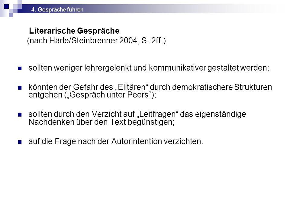 Literarische Gespräche (nach Härle/Steinbrenner 2004, S. 2ff.)