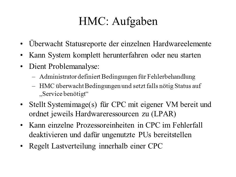 HMC: Aufgaben Überwacht Statusreporte der einzelnen Hardwareelemente