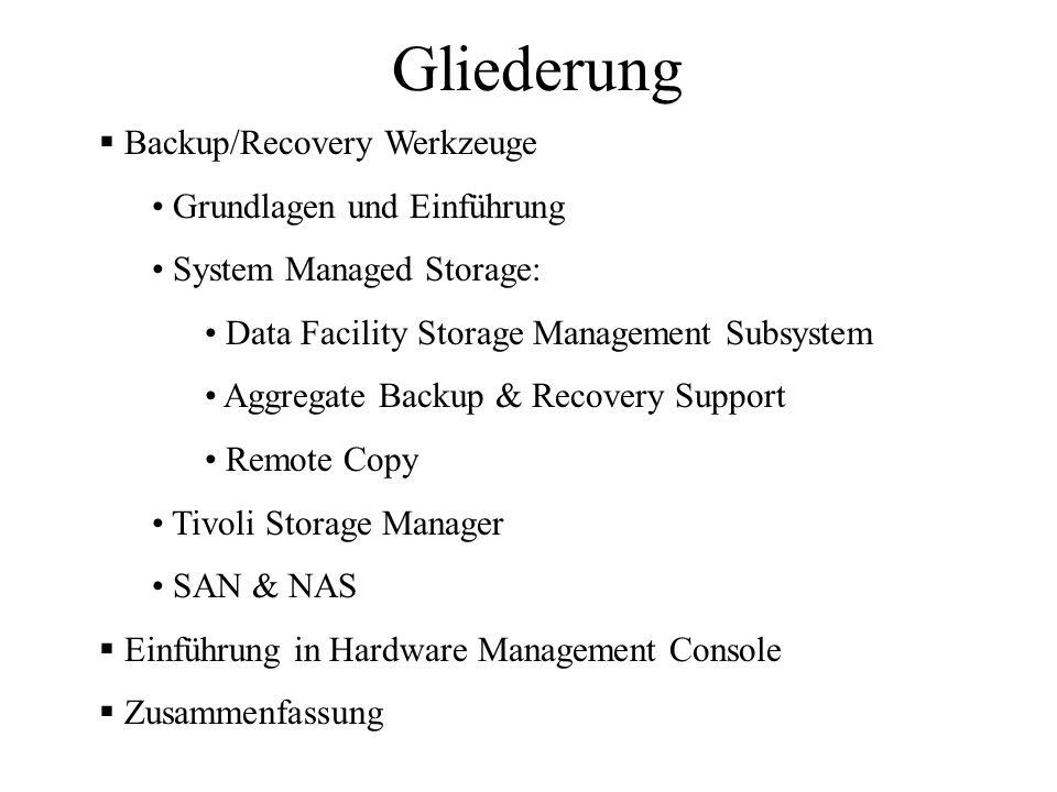 Gliederung Backup/Recovery Werkzeuge Grundlagen und Einführung