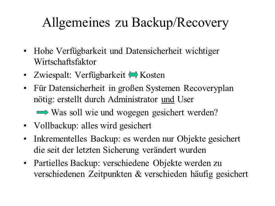 Allgemeines zu Backup/Recovery