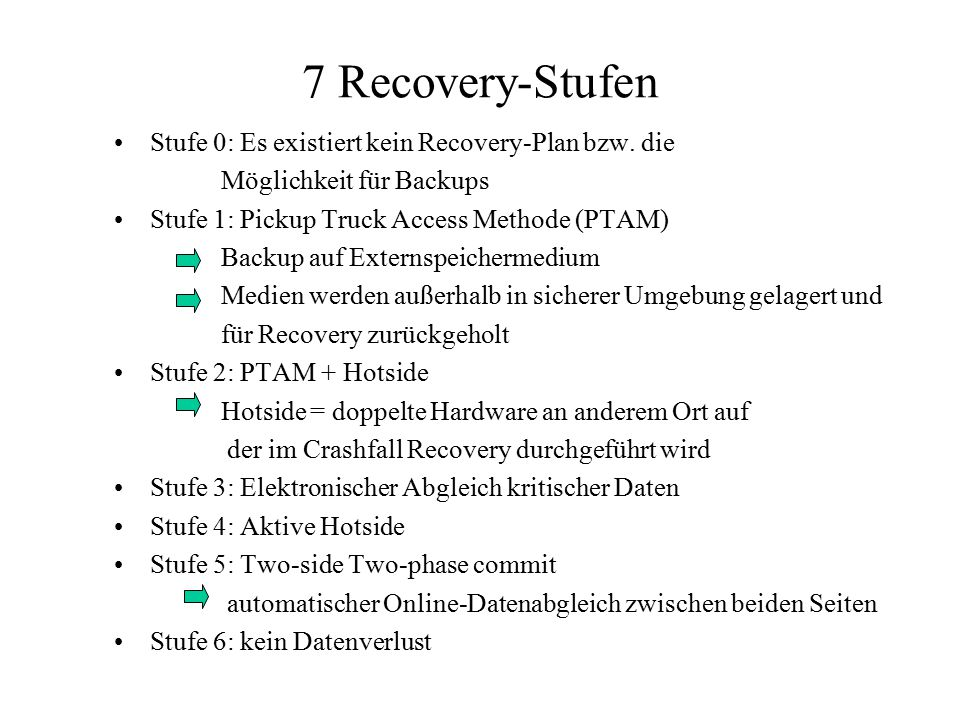 7 Recovery-Stufen Stufe 0: Es existiert kein Recovery-Plan bzw. die