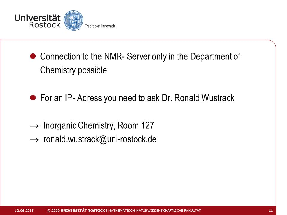 Connection to the NMR- Server only in the Department of