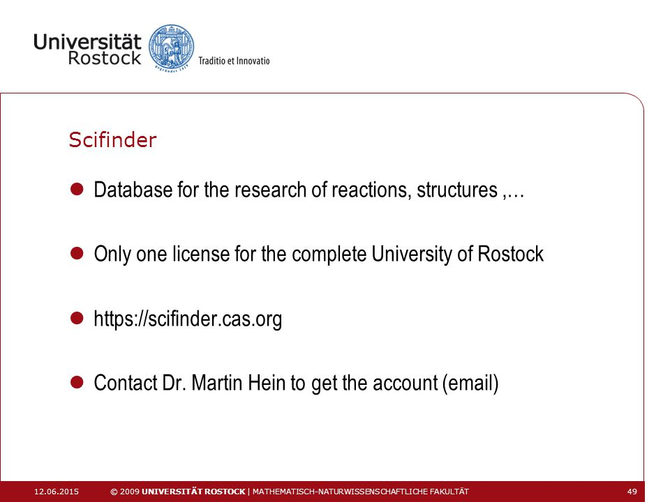 Database for the research of reactions, structures ,…