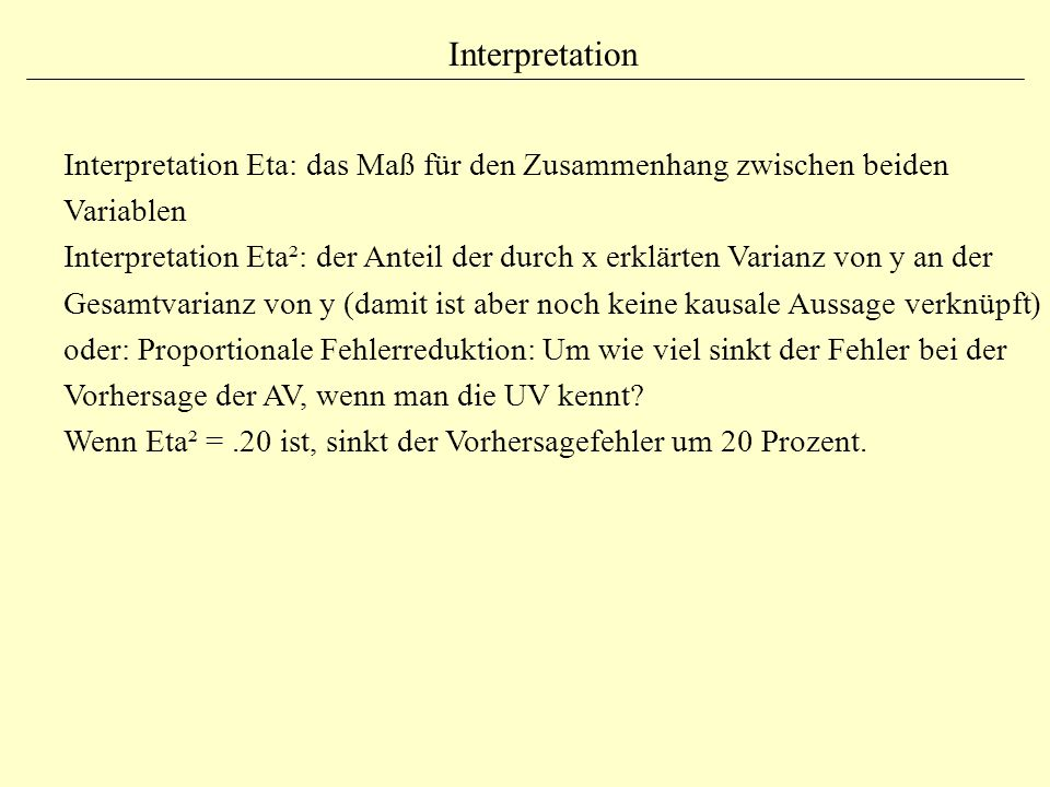 Interpretation Interpretation Eta: das Maß für den Zusammenhang zwischen beiden Variablen.