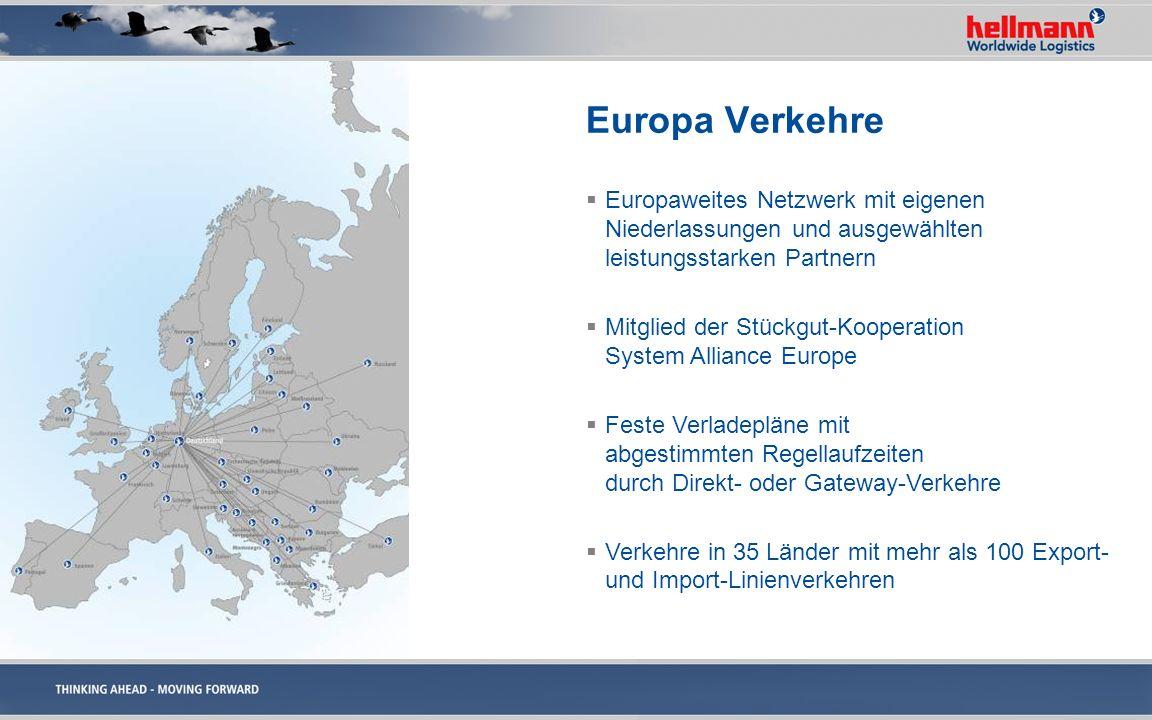 Europa VerkehreEuropaweites Netzwerk mit eigenen Niederlassungen und ausgewählten leistungsstarken Partnern.