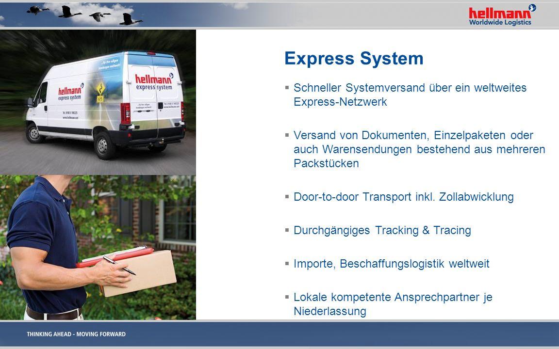Express System Schneller Systemversand über ein weltweites Express-Netzwerk.