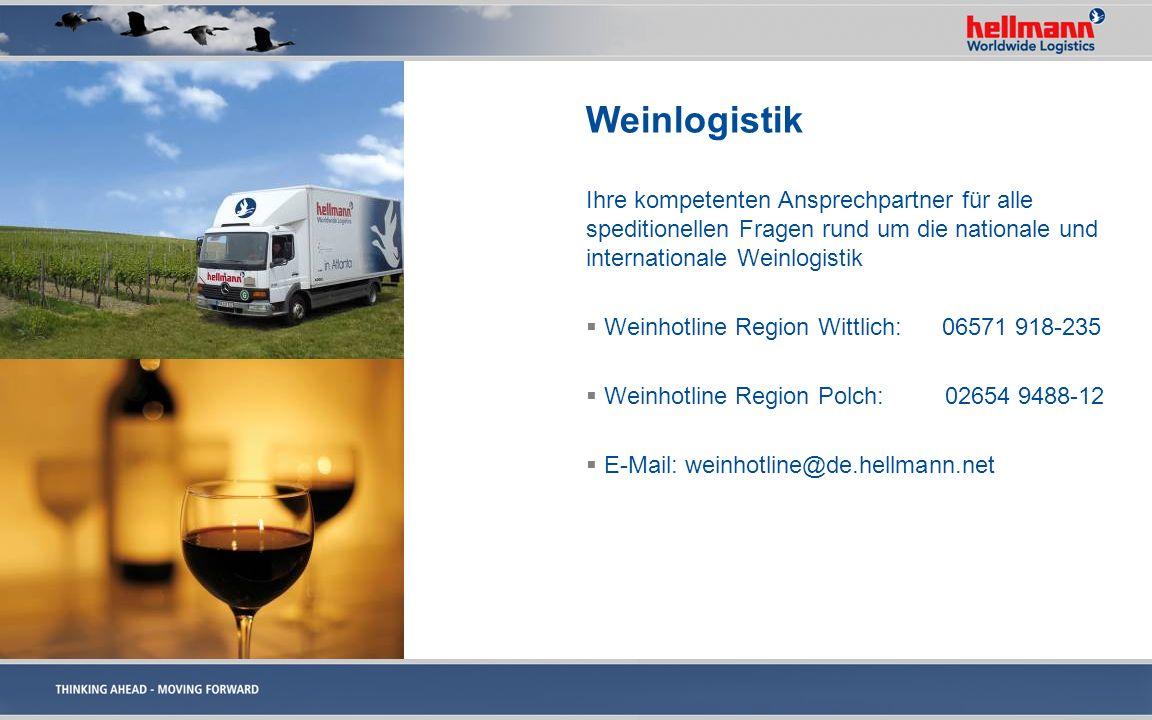 Weinlogistik Ihre kompetenten Ansprechpartner für alle speditionellen Fragen rund um die nationale und internationale Weinlogistik.