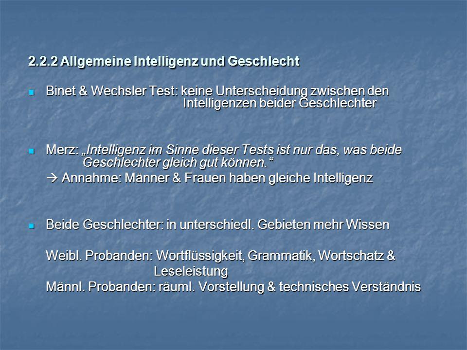 2.2.2 Allgemeine Intelligenz und Geschlecht