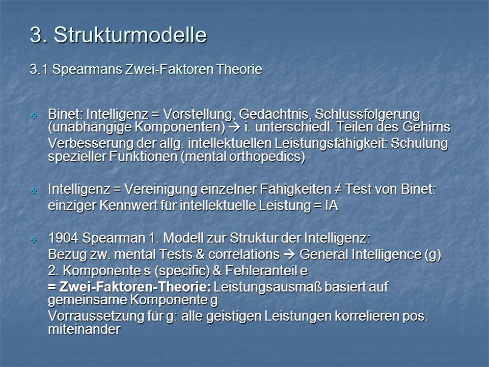 3. Strukturmodelle 3.1 Spearmans Zwei-Faktoren Theorie