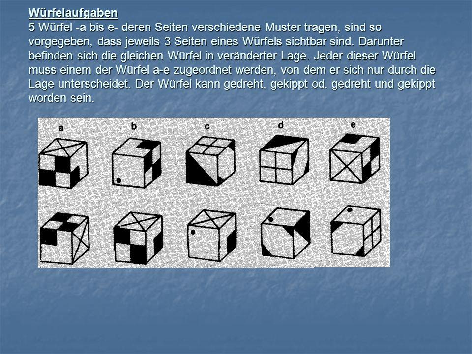 Würfelaufgaben 5 Würfel -a bis e- deren Seiten verschiedene Muster tragen, sind so vorgegeben, dass jeweils 3 Seiten eines Würfels sichtbar sind.