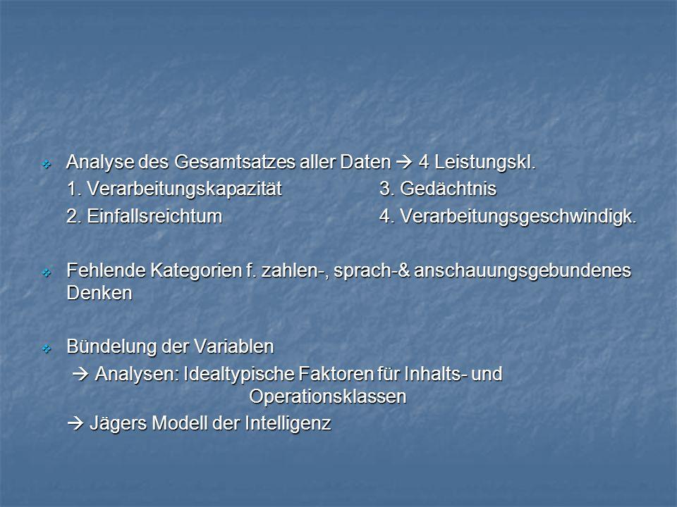 Analyse des Gesamtsatzes aller Daten  4 Leistungskl.