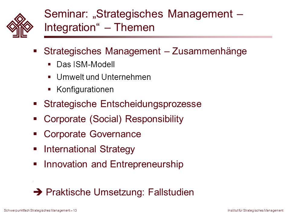 """Seminar: """"Strategisches Management – Integration – Themen"""