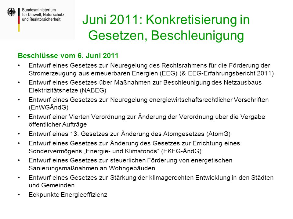Juni 2011: Konkretisierung in Gesetzen, Beschleunigung