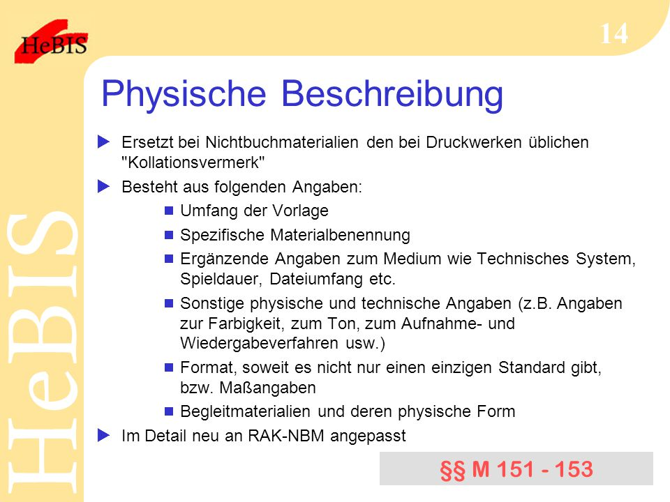 Physische Beschreibung
