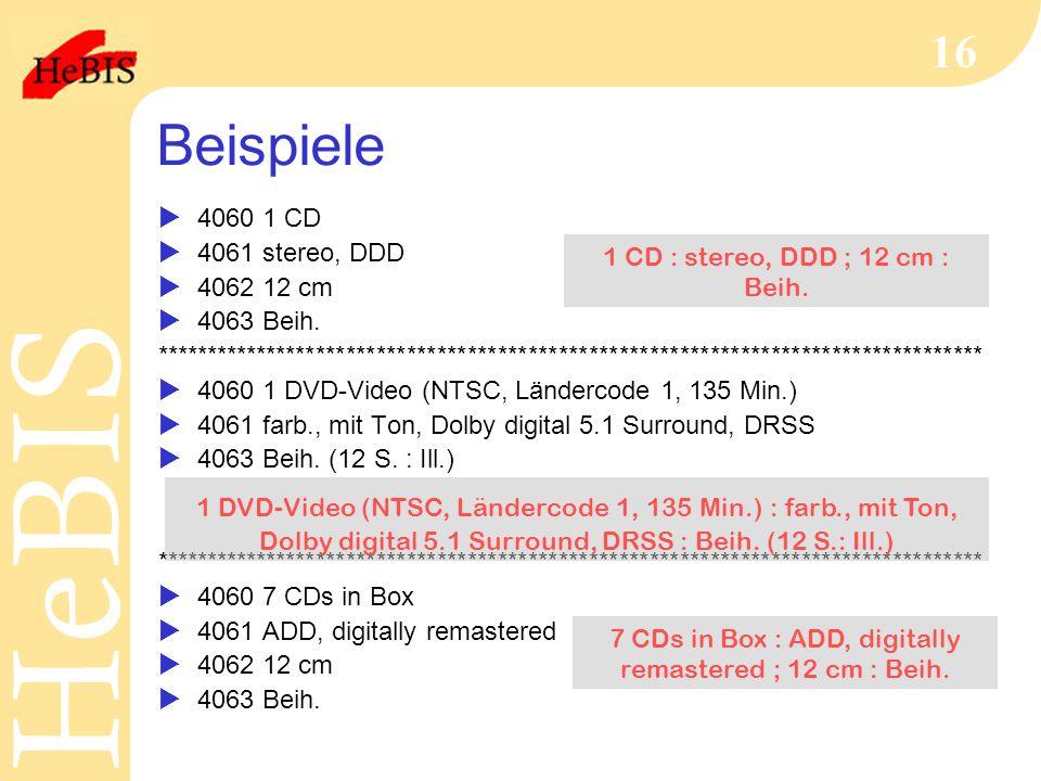 Beispiele 4060 1 CD 4061 stereo, DDD 4062 12 cm