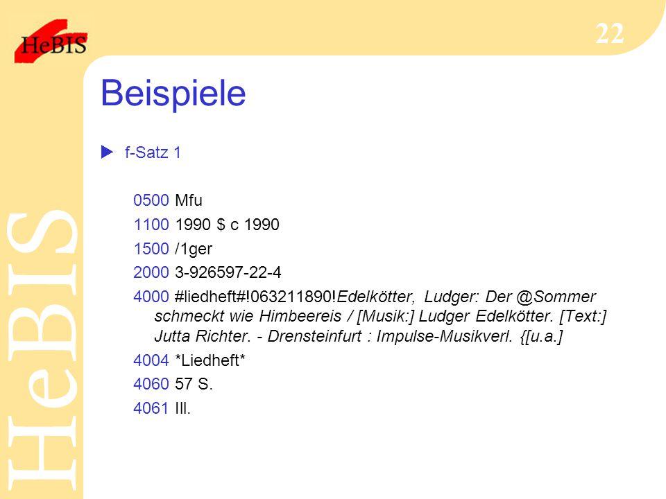 Beispiele f-Satz 1 0500 Mfu 1100 1990 $ c 1990 1500 /1ger