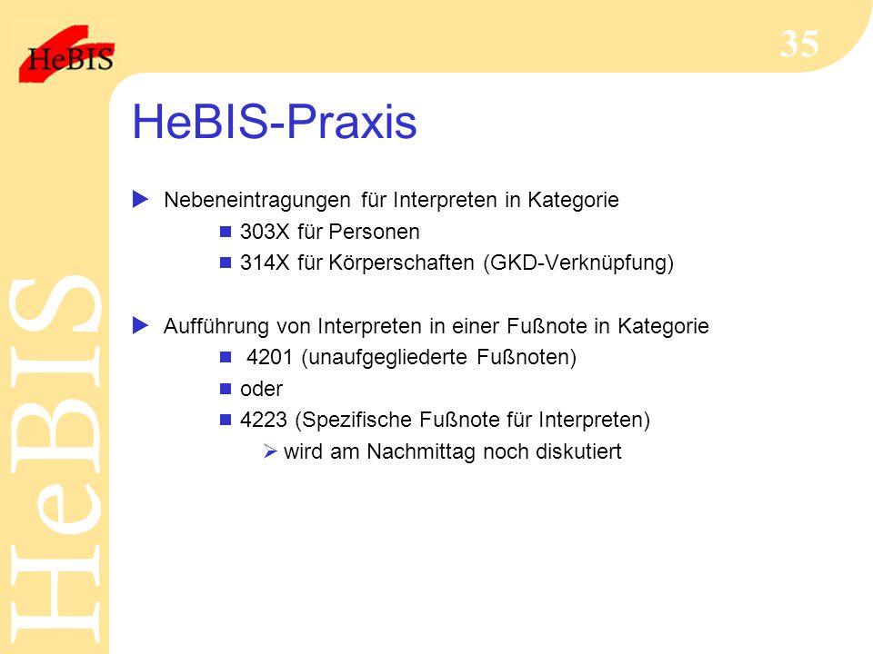 HeBIS-Praxis Nebeneintragungen für Interpreten in Kategorie