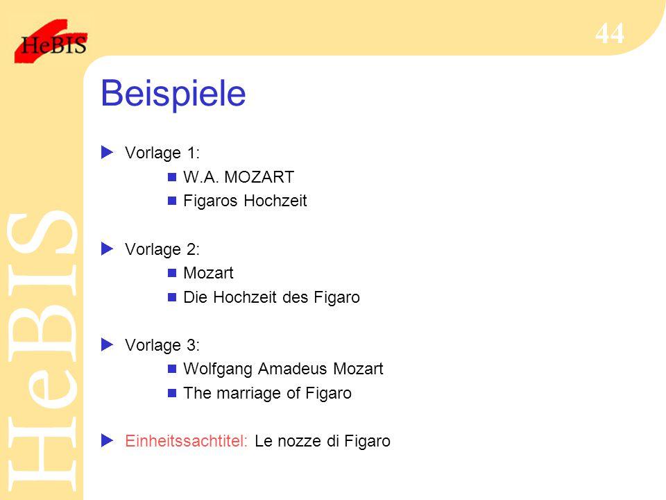 Beispiele Vorlage 1: W.A. MOZART Figaros Hochzeit Vorlage 2: Mozart