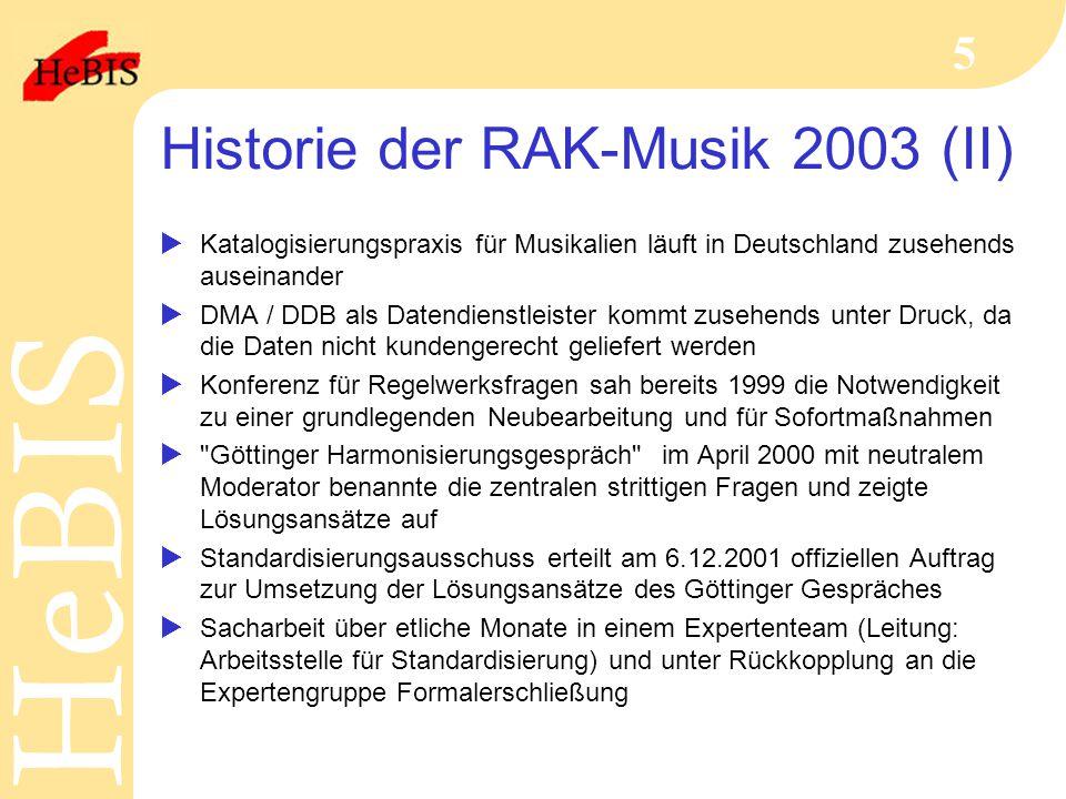 Historie der RAK-Musik 2003 (II)