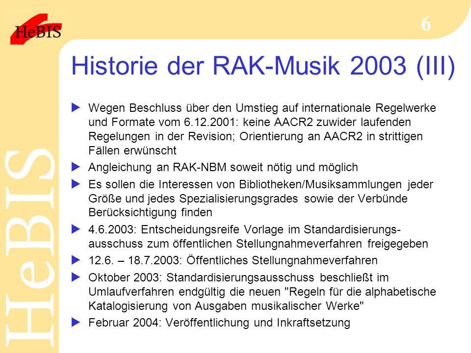 Historie der RAK-Musik 2003 (III)
