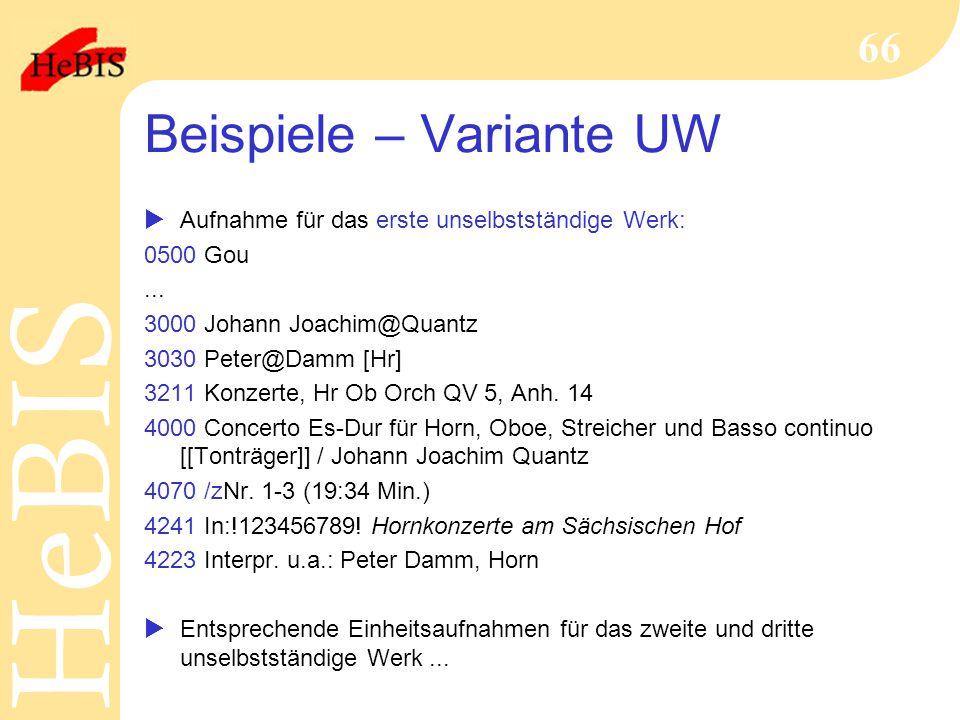 Beispiele – Variante UW