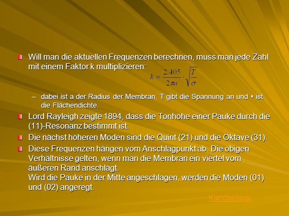 Die nächst höheren Moden sind die Quint (21) und die Oktave (31).