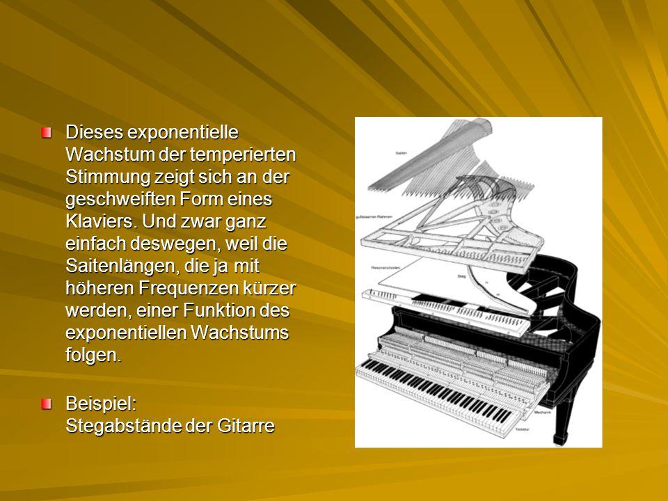 Dieses exponentielle Wachstum der temperierten Stimmung zeigt sich an der geschweiften Form eines Klaviers. Und zwar ganz einfach deswegen, weil die Saitenlängen, die ja mit höheren Frequenzen kürzer werden, einer Funktion des exponentiellen Wachstums folgen.
