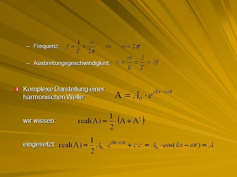 Komplexe Darstellung einer harmonischen Welle: wir wissen: eingesetzt: