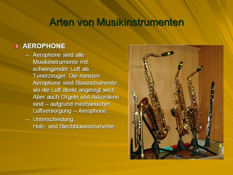 Arten von Musikinstrumenten