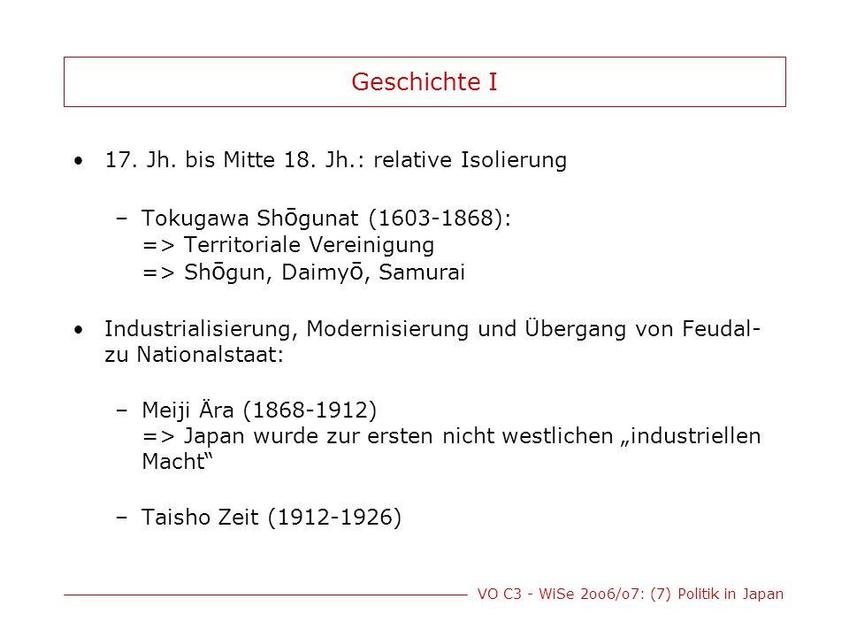 Geschichte I 17. Jh. bis Mitte 18. Jh.: relative Isolierung
