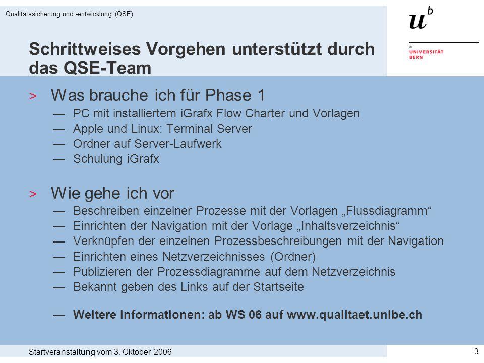 Schrittweises Vorgehen unterstützt durch das QSE-Team